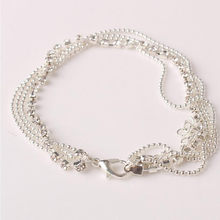 Stylish Jewelry Fashion Women silver color Anklet Multi Layer Silver Crystal Ball Bracelet Ankle Foot Chain Women Jewelry(China)