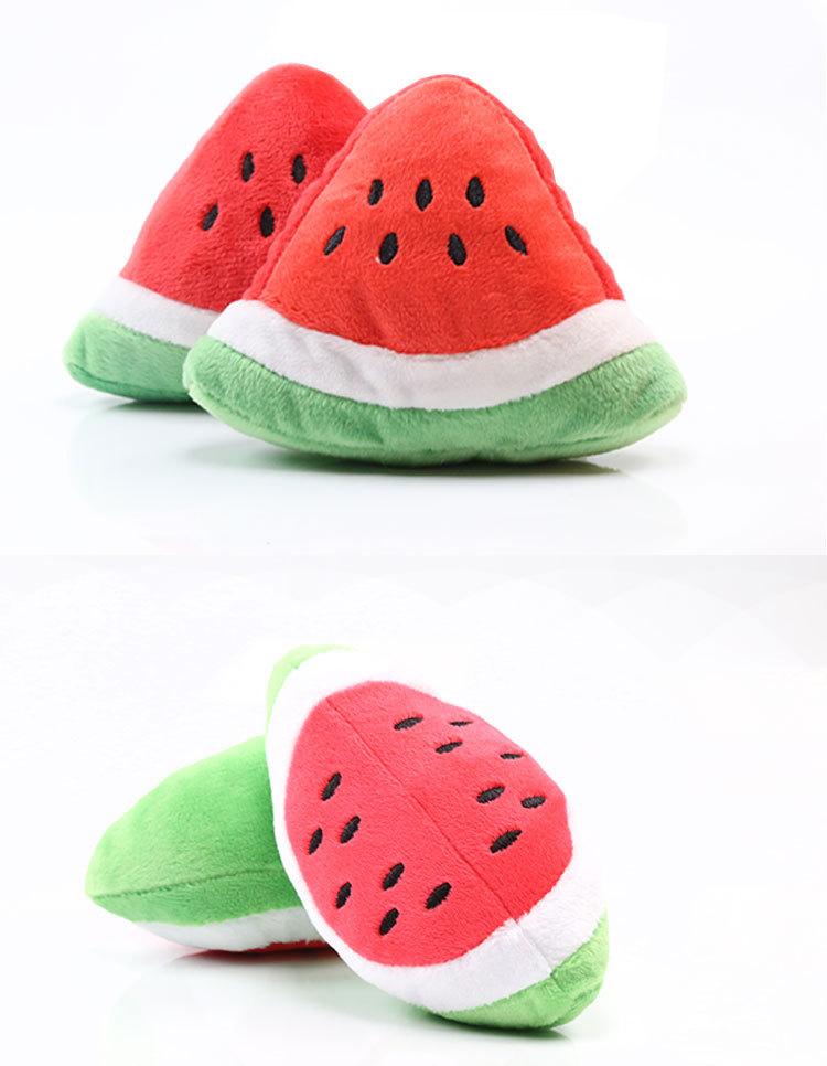 Coloridos juguetes chirrantes de frutas para mascota 4