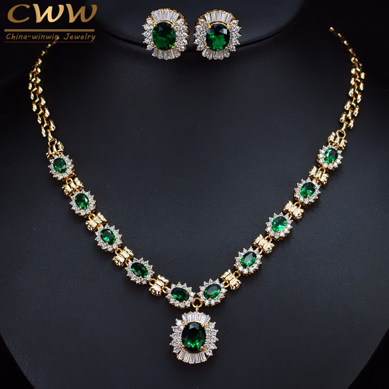 лучшая цена CWWZircons 6 Color Choice Green Cubic Zirconia Crystal Necklace And Earring Gold Color Indian Wedding Jewelry Set For Women T273