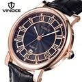 VINOCE Брендовые Часы мужские роскошные часы из натуральной кожи с ремешком Quart винтажные мужские часы водонепроницаемые часы Reloj Hombre # V3281G