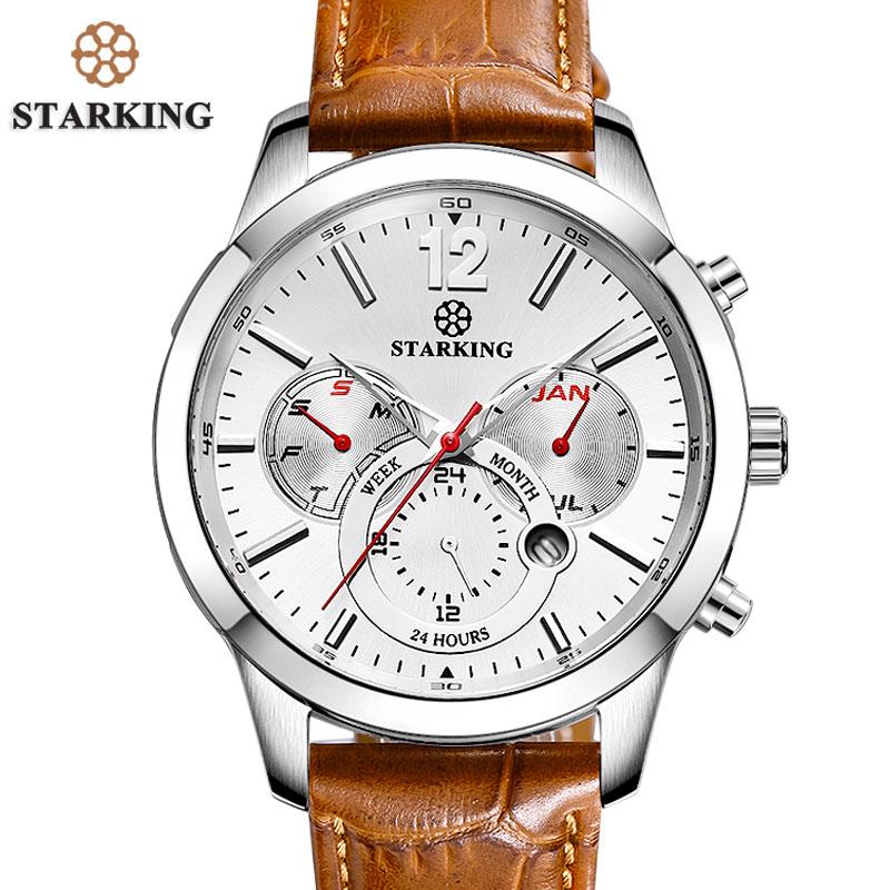 Prix pour Starking brun véritable en cuir sport montres 2017 russe militaire montres armée hommes de montre-bracelet 30 m résistant à l'eau ourdou bm0947