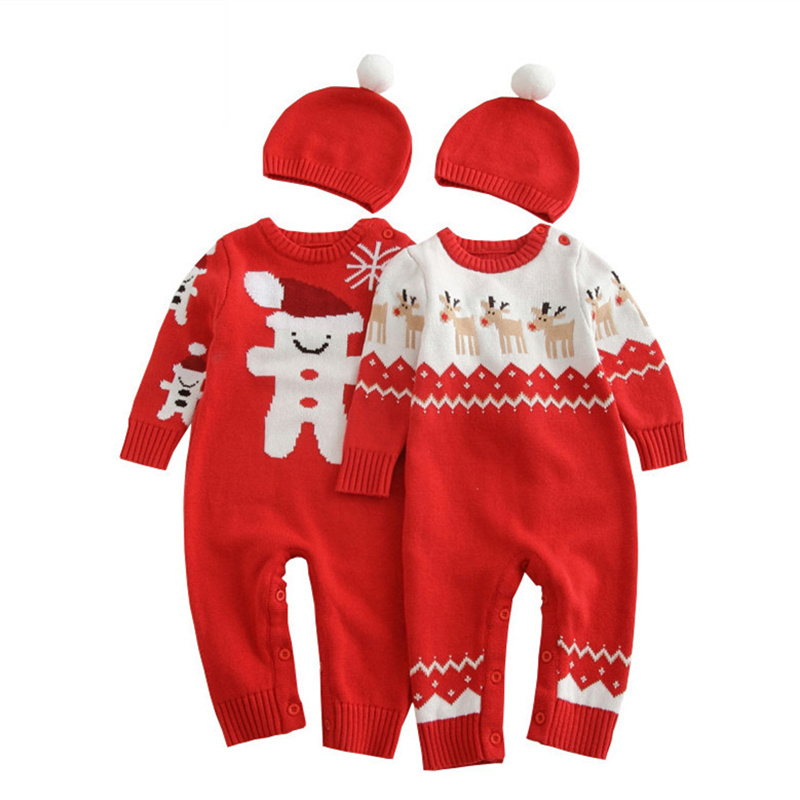 2pc/set Autumn Winter Baby Boy Girl Christmas Clothes+Hat Cotton Knitted Sweater Double-deck Newborn Baby Jumpsuit Warm Rompers autumn winter baby hats new fashion children warm ball hat double color boys and girls cotton caps beanies baby knitted hat