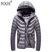 NXH 2018 Winter Men's jackets Hat Detachable Male Warm coats Windproof outer wear Zipper inner bag Hooded camouflag 7colors