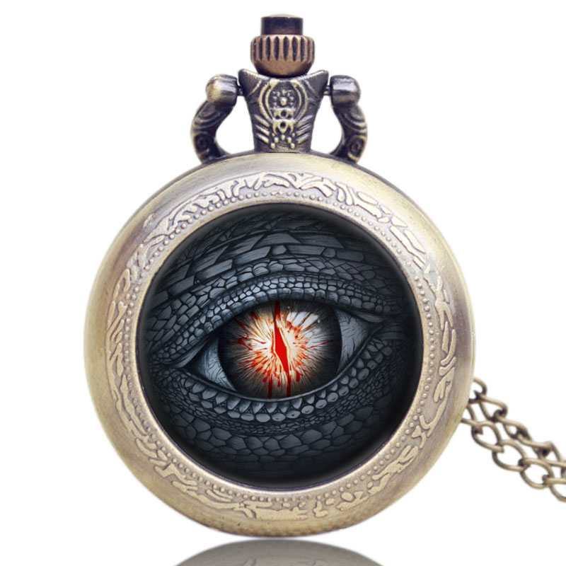 Dragon Eye Song of Ice and Fire The Game of Thrones Pocket Watch All Men Must Die Retro Design Quartz Watches 2017 Necklace hot novel a song of ice and fire the game of thrones american drama extension war is coming theme pocket watch