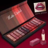 12pcs/set colorful lipstick makeup set Square sexy lipstick pumpkin nude purple color waterproof velvet matte lipstick