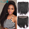 7A Kinky Straight Lace Frontal Closure Brazilian Lace Frontals Coarse Yaki Ear To Ear 13x4 Full Frontal Closure With Baby Hair