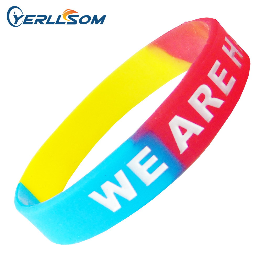 500pcs Lot High Quality Custom Personalized Segmented rubber silicone bracelets for gifts Y061005