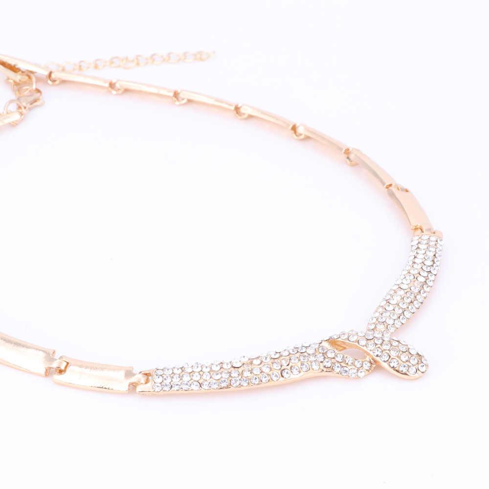 Ślubny kryształowy komplet biżuterii damskiej Party Fashion Choker naszyjnik Vintage Dubai modne akcesoria