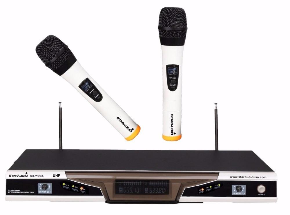 staraudio pro 2ch uhf pro pa dj stage church club wireless handheld microphone system mic smuw. Black Bedroom Furniture Sets. Home Design Ideas