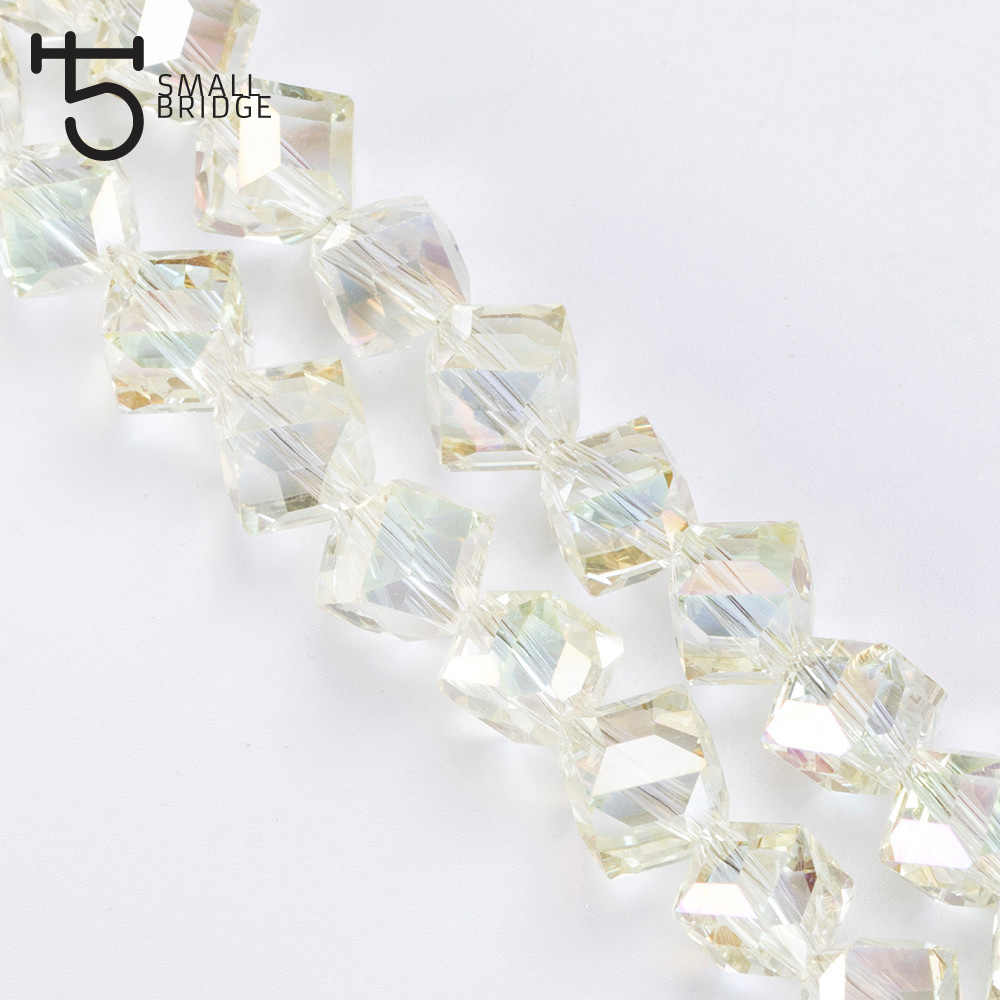 8mm Austria Faceted Square Glass Beads for Jewelry Making Diy Decoration Transparent Crystal Cube Beads Wholesale X301