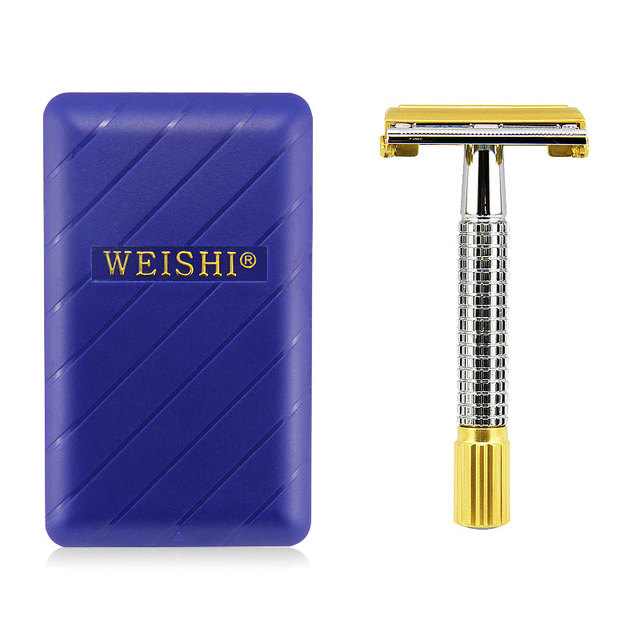 Men Shaver Kit Safety Razor Double Edge Razors Copper Handle Sand Gold Process With Package Plating Process