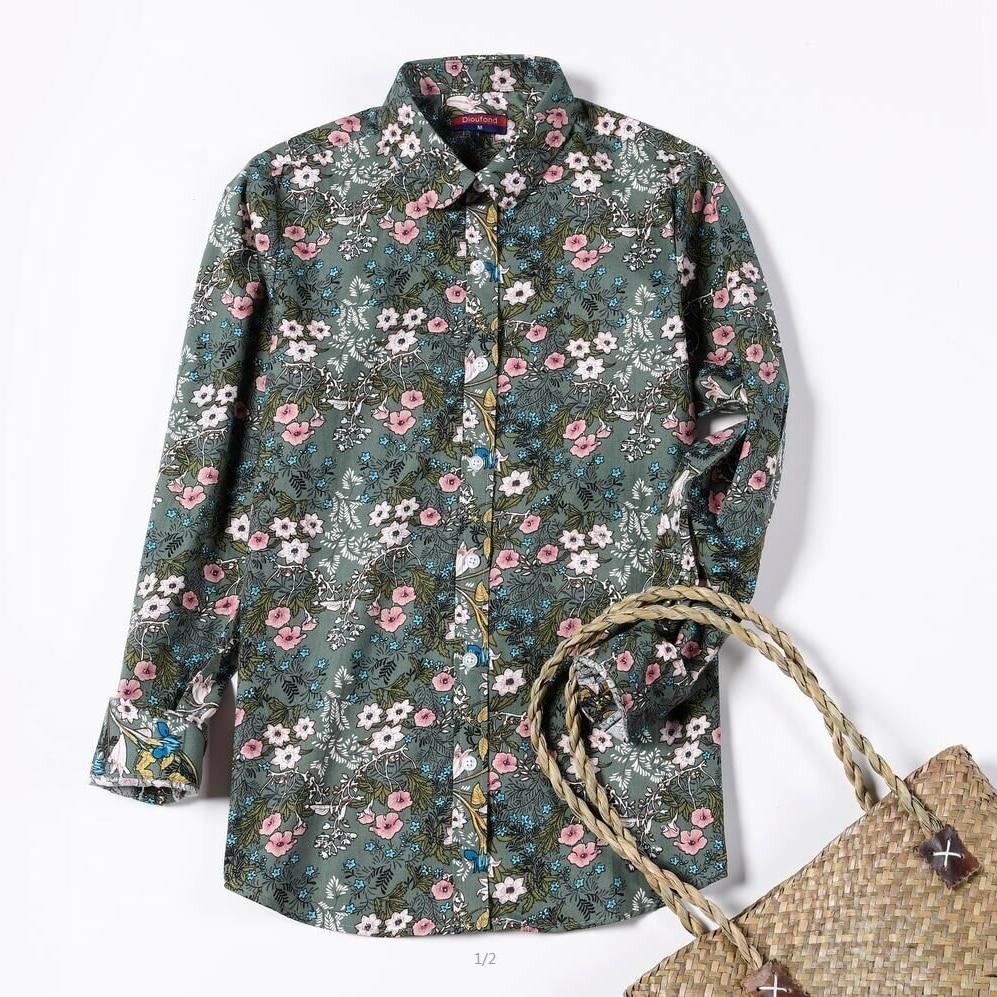 Dioufond Qadın Çiçək Bluzları Pambıq Güllü Xanımlar Yaz - Qadın geyimi - Fotoqrafiya 4