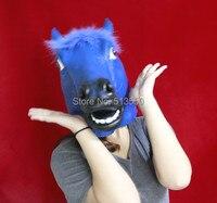 Лидер продаж! Реалистичные deluxe латекса синяя голова лошади маска для взрослых-Размер