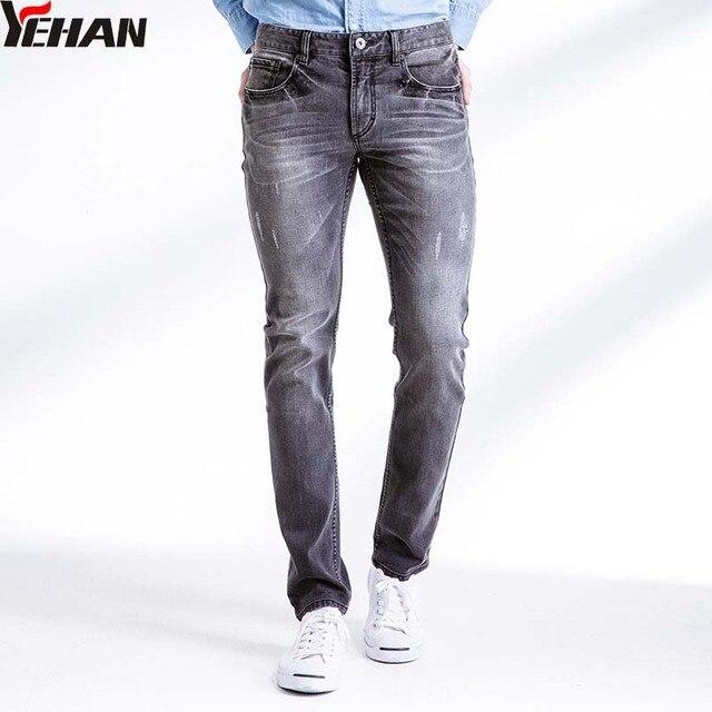 d03a3ea991a5e Moda Flaco Ripped Jeans Hombres Stretch Slim Fit Denim Jeans Gris Pantalones  Largos Rectos Casuales Pantalones