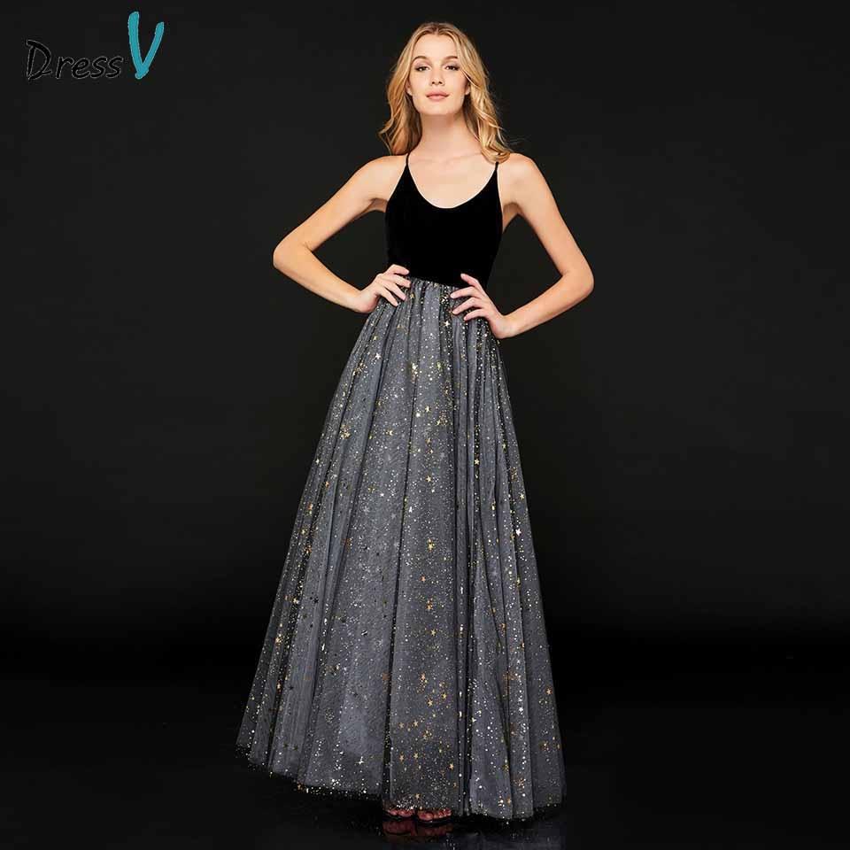 Dressv prom dress spaghetti straps a line sleeveless appliques ...