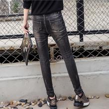 Оптовая 7XL Большой размер мультфильм шаблон джинсы 2017 женские зимние новая мода Patchwor хлопка Тонкий тонкий карандаш джинсы w1458