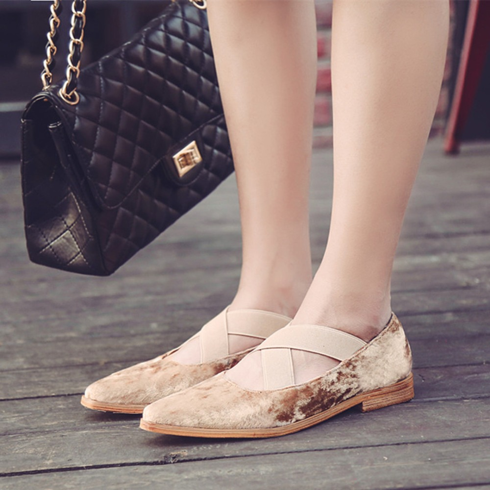 ФОТО 2017 Spring Women's Flats Shoes Velvet Shallow Mouth Cross Elastic Bandages Mary Jane Shoes Single Shoes Woman Ballet Flats C601