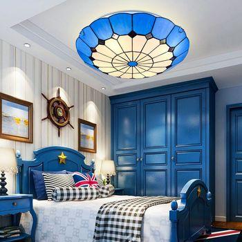 Creative blue lámpara de techo para dormitorio de los niños luces de pasillo de balcón Mediterráneo personalidad LED lámparas de habitación