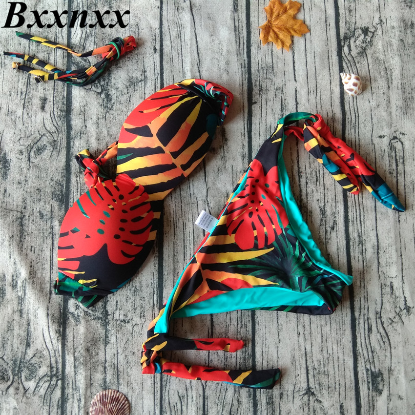 BXXNXX Women Bandeau Bikini Low Waist Set Floral Strapless Brazilian Swimsuit Passionate Bathing Swimwear Female cute strapless flounce design women s bandeau bikini set