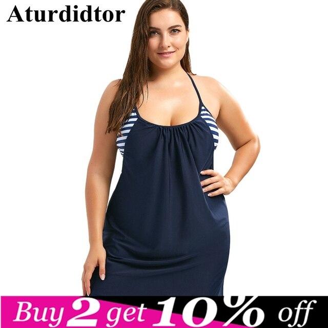 3XL 4XL Plus Size Swimwear Cami Boxer Blouson Tankini Set Plus Size ...