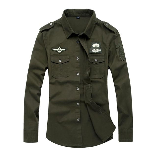 online store ee53d e00a4 US $17.99  Förderung 2017 Hohe qualität 100% baumwolle herren military  uniform style shirts männer Casual langärmeliges hemd Plus size Tops in ...