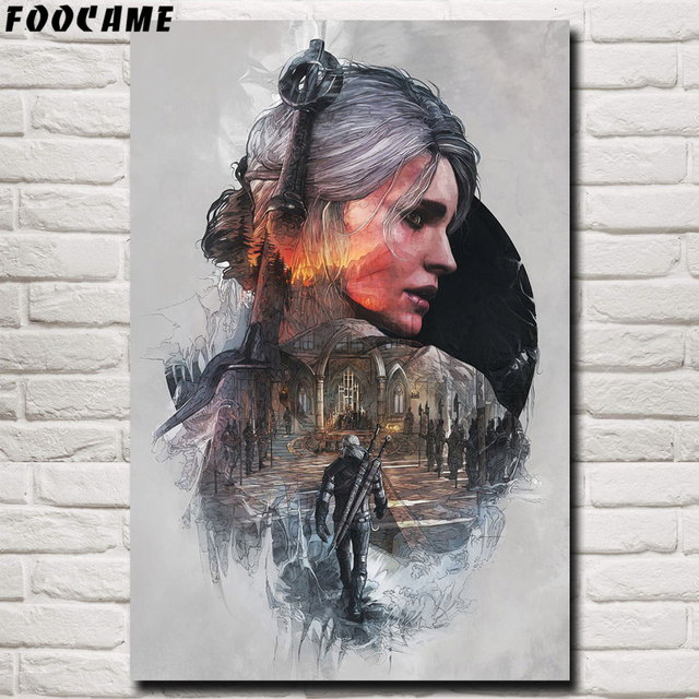 FOOCAME The Witcher 3: Wild Hunt Cirilla Fiona Elen Riannon Art Silk Posters Prints Painting DecorWall Pictures For Living Room