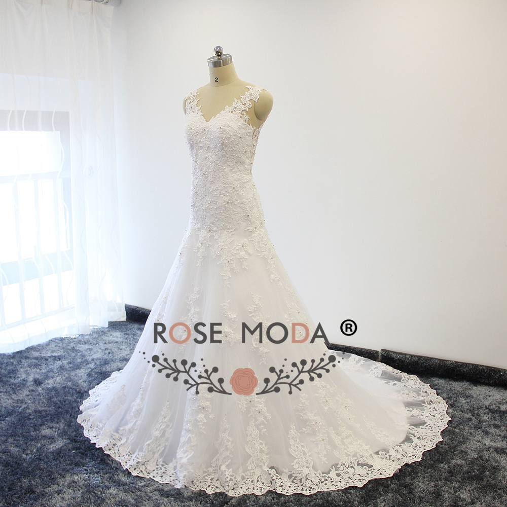 Rose Moda V Neck Venice Lace Trumpet Wedding Dresses with illusion ...