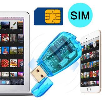 Jakości niebieski USB telefon komórkowy standardowa karta SIM czytnik kart kopiowania pisarz kopii zapasowych SMS GSM CDMA + CD wysokiej tanie i dobre opinie TOFOCO Pojedyncze Zewnętrzny Karty SIM tfdblb3185dkq 10x5x3mm Other