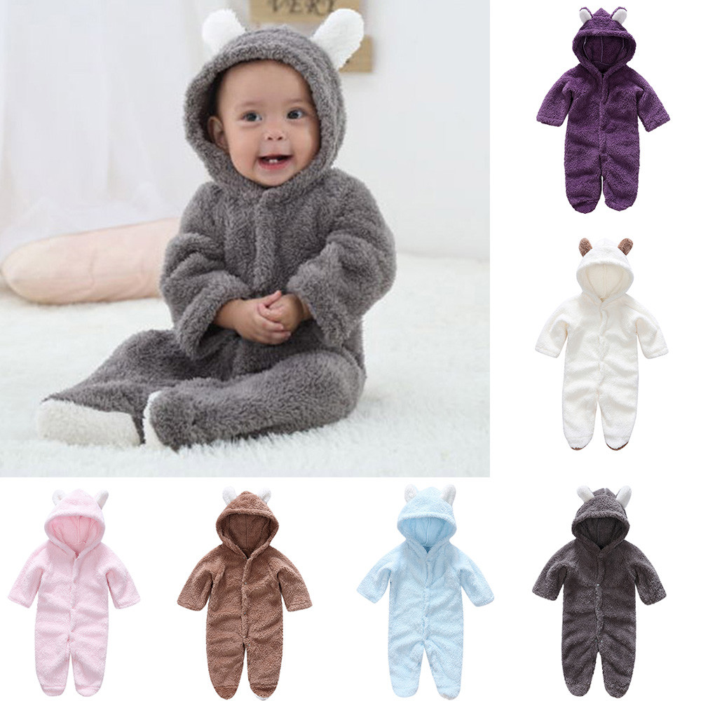 Fashion Daily Newborn Unisex Baby Boys Girls Fleece Material Long Sleeves Keep Warm Cartoon Hooded   Romper   Jumpsuit