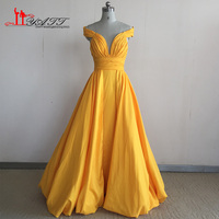 Robe De Soiree Yellow Evening Dress Prom Gowns 2017 Hot Sale Sexy Backless A Line Sleeveless