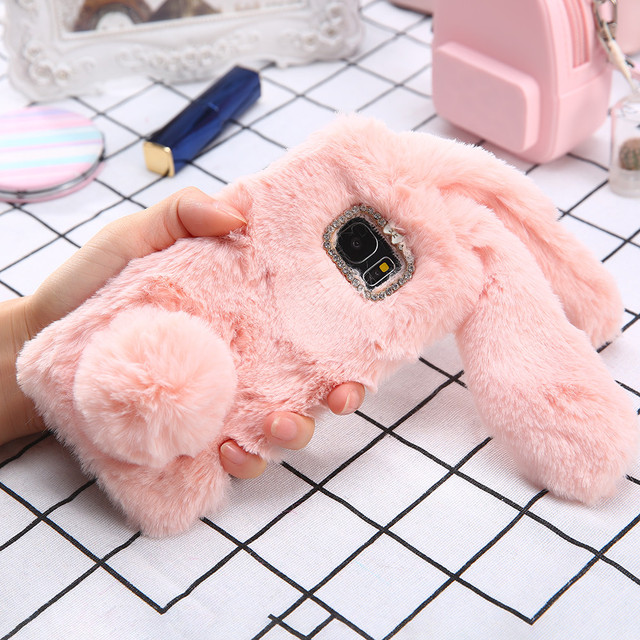 official photos 2ff50 e081a US $3.68 10% OFF|S8 Plus 3D Cute Soft Fluffy Rabbit Warm Fur Case For  Samsung Galaxy S8 S7 S6 edge Cover Fashion Elegant Bling Diamond Phone  Case-in ...
