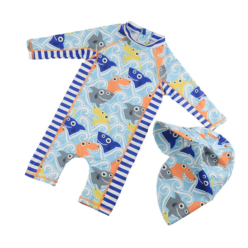Children Swimwear Boys Swimsuit Infant Baby UV Prodection Swimwear With Swimhat Cartoon Swimming Suit For Kids Boy Bathing Suits