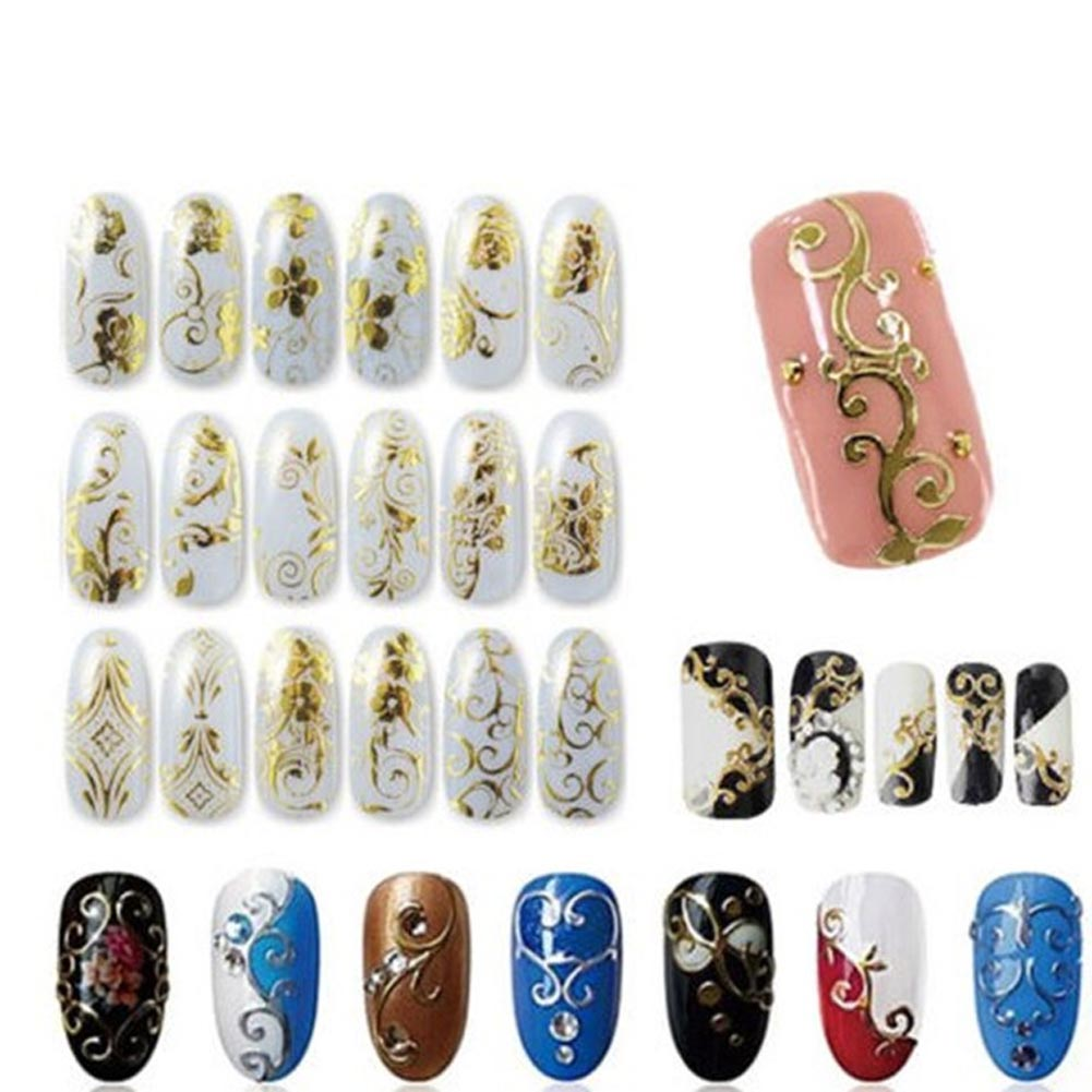 12 Sheet 3D Stickers For Nails Foil Flower Nail Design Sliders Nail Stickers Manicure Gold Foil Polish Strips Stickers free shipping new 2017 hot 13 single pure color series classic collection manicure nail polish strips nail wraps full nail sheet