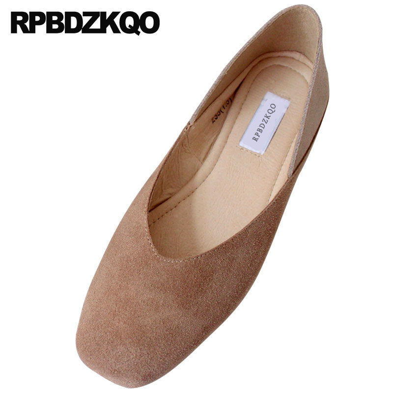 Genuine Leather Yellow Shoes Ladies Square Toe Japanese Soft Ballet Flats Women Nude Ballerina Big Size 41 Vintage Large Suede women ballerina pointed toe ladies designer shoes china 2018 ballet ankle strap suede pink cute elastic flats japanese cross