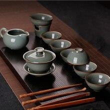 ФОТО 10 pcs/set longquan celadon tea set cracking gaiwan cups cha mug porcelain kung fu tea maker gift set drinkware retro decoration