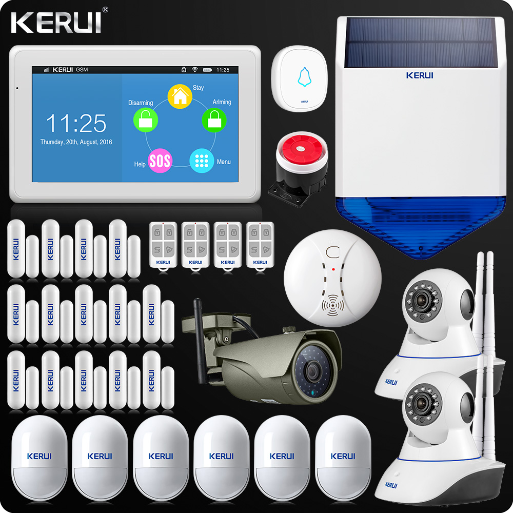 KERUI K7 7 Inch Touch Display WIFI Alarm System Home Alarm Security Kit Wireless Keypad Rfid Remote Control Solar Siren