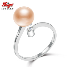 Feige Fine Jewelry 8-9mm Pink Natural Freshwater Pearl Ring Real 925 Sterling Silver Rings for Women High Quality