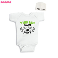 Culbutomind Unisex This Boy Loves His Uncle Funny Baby Body Suit With Custom Cap Twins Outfit