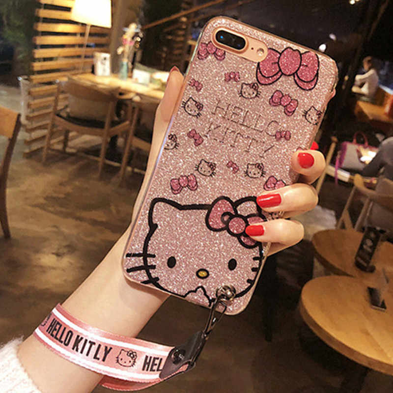 P20 Pro P20 lite Cartoon Hello Kitty Phone Case for Huawei P20 P20Plus Hand Strap Neck Strap Hard Back Cover For Huawei P20 lite