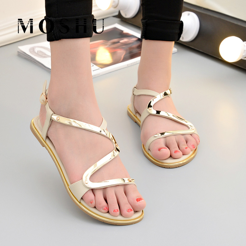 Summer Women Gladiator Flat Sandals Ladies Buckle Strap Beach Slippers Anti Slip Casual Shoes Zapatos Mujer zapatos mujer black red summer sweet bowtie flat sandals slip toe beach sandals butterfly knot flat sandals shoes plus size 44