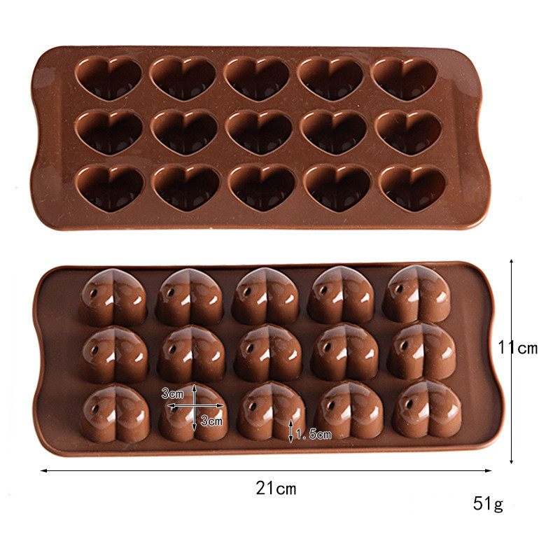 Silicone Chocolate Mold DIY Chocolate Candy Cake Baking Mold DIY  Heart Mold Baking Cake Tools Candy Decoration 15-cell Love