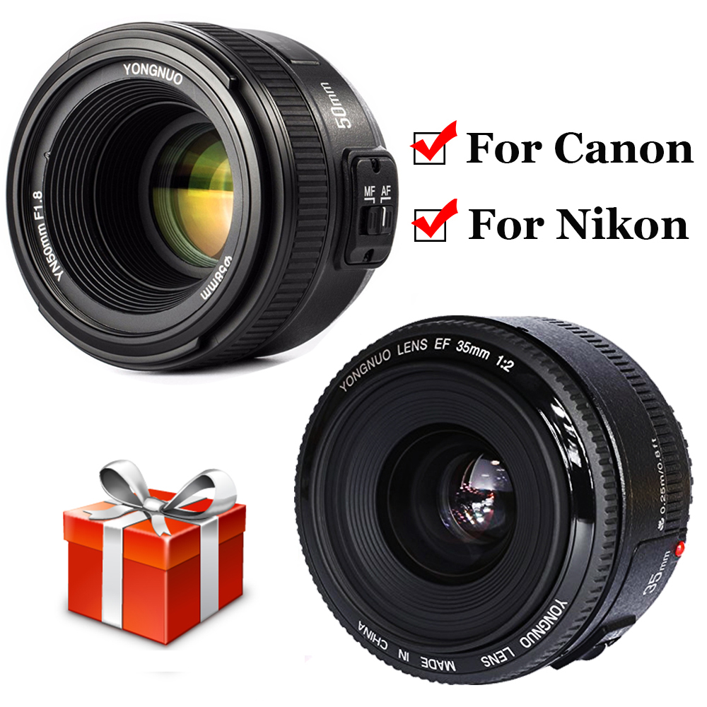 YONGNUO Wide-angle Large Aperture YN35mm F2 Fixed Auto Focus Lens YN50mm F1.8 Lens For Canon Nikon D7100 D3200 D3300 D3100 D5100