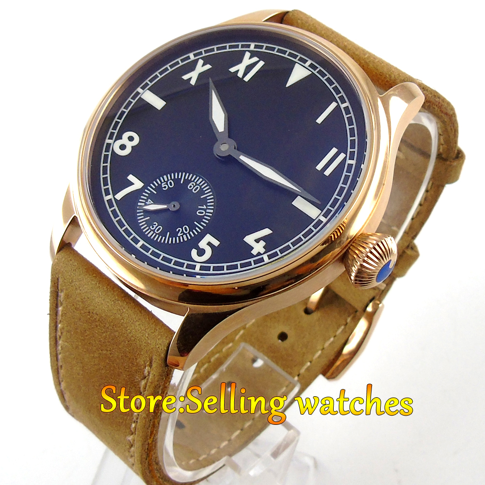 цена на 44mm Parnis Rose gold Case black dial Mechanical Hand-winding 6498 mens Watch