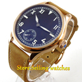44mm Parnis Rose gold Case black dial Mechanical Hand-winding 6498 mens Watch