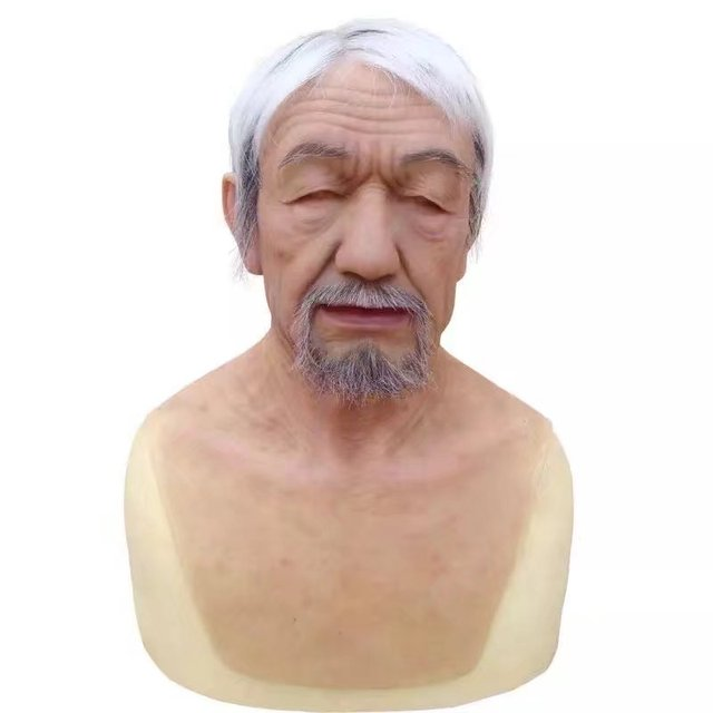 Super Realistic Gender Reveal Old Man mask wig latex Hood hair beard Human  Skin Party Disguise Self Masks overhead Halloween 69a1074ea40a