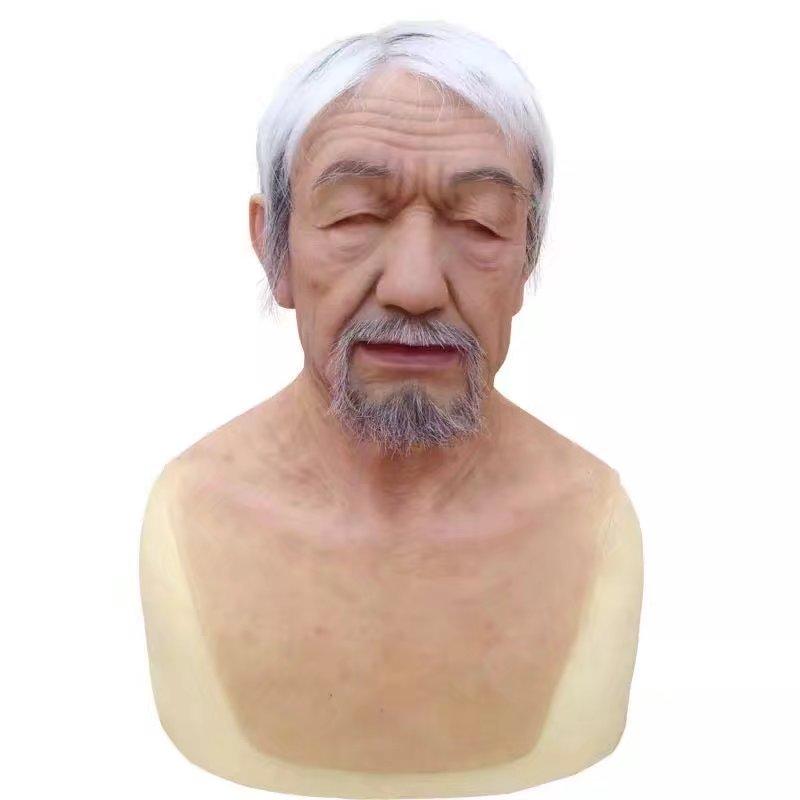 Super Realistic Gender Reveal Old Man mask wig latex Hood hair beard Human Skin Party Disguise Self Masks overhead Halloween