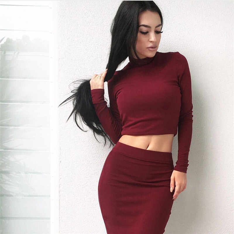 Women's Fashion new two-pieceTops And Skirt Set Women Sexy Long Sleeve Autumn Tracksuit Plus Size  Women's Party DressYY347