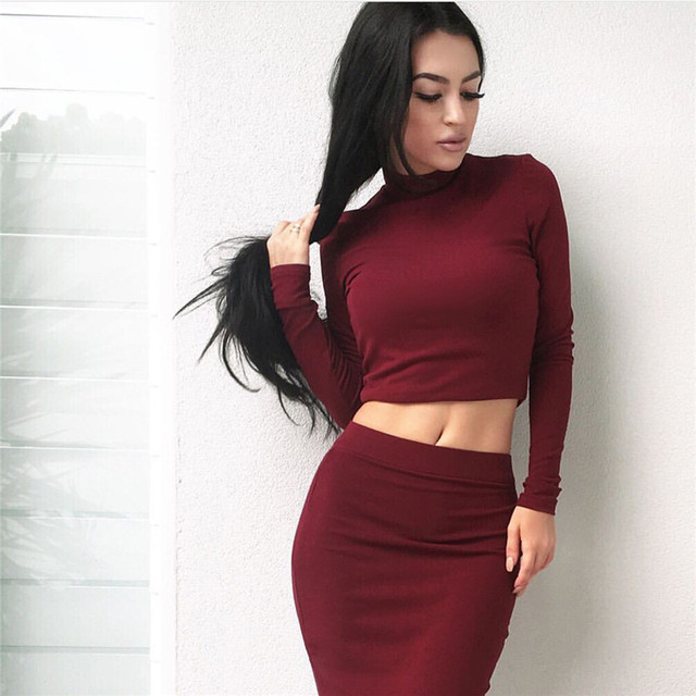 Women's TurtleNeck Crop Tops And Skirt Set Women Sexy Long Sleeve Autumn Tracksuit Plus Size Tracksuits Women's Party DressYY347