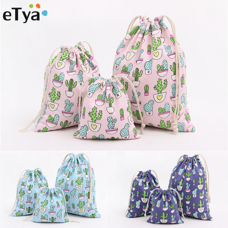 ETya Unisex Cactus Printing Canvas Drawstring Bags Women Candy Jewelry Makeup Cosmetic Bags Shoes Travel Organizer Bag