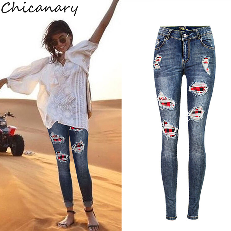 Chicanary Sexy Women Moustache Effect Skinny Wash Denim Jeans Ripped Plaid Patchwork Butt Lifting Bodycon Denim
